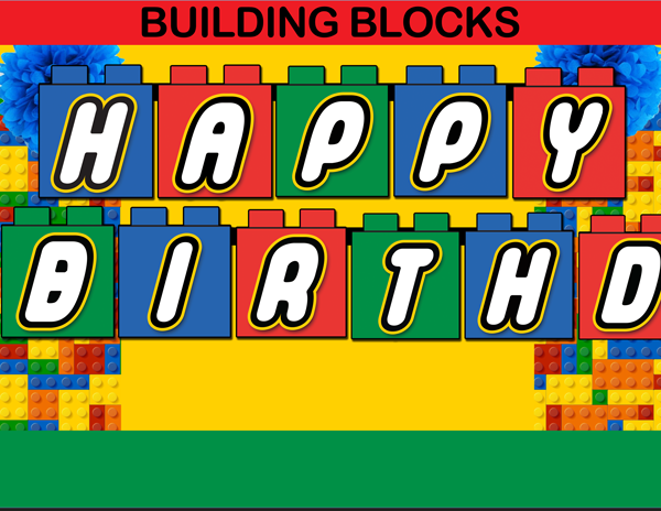 Building Blocks Happy Birthday Banner Instant Download Cupcakemakeover Happy Birthday Banners Lego Themed Party Lego Birthday Banner