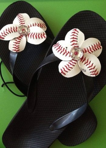 902c49a86 Baseball Flip Flop Flowers - includes flip flops - Sports Moms - Baseball  Moms - Baseball Bling on Etsy