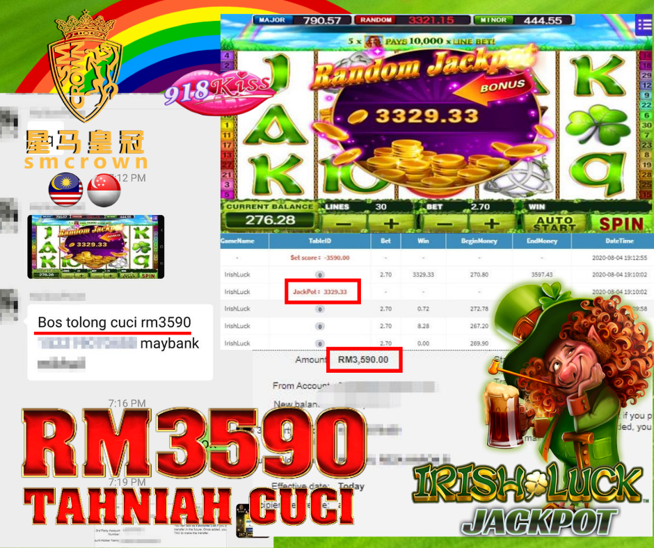 #smcrown #918kiss #irishluckslot #jackpot #freegames