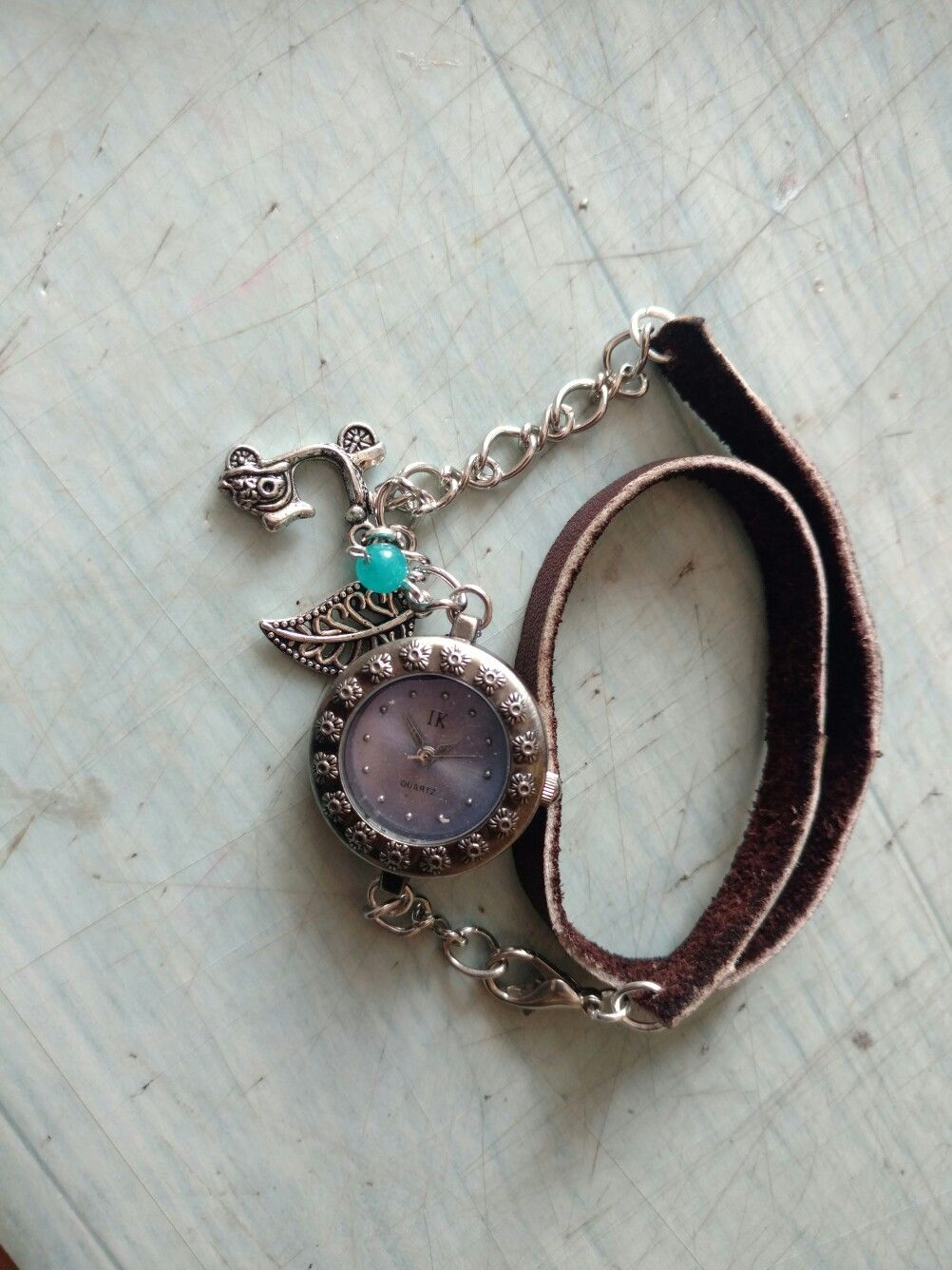 My diy leather watch with charm..