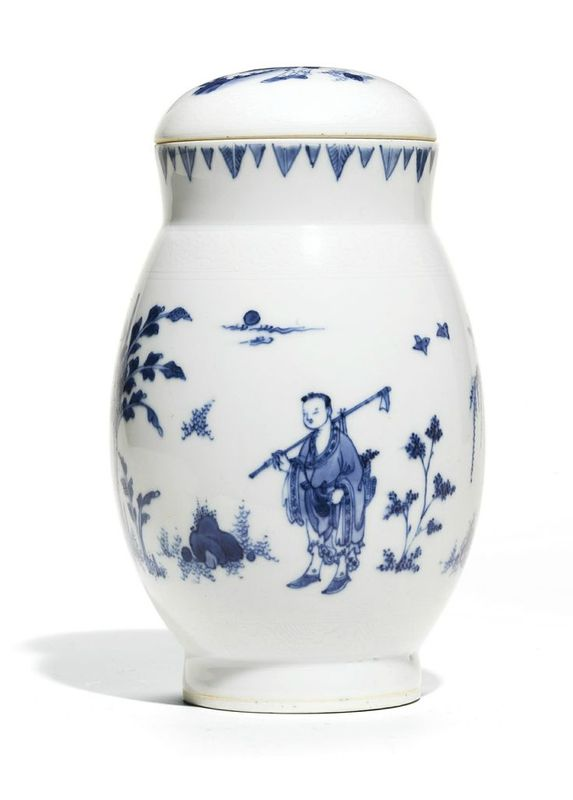 Blue and white jar and cover, circa 1640