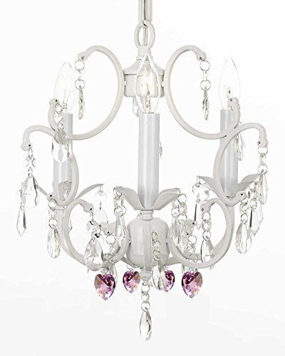 White wrought iron crystal mini chandelier w pink crystal hearts white wrought iron crystal mini chandelier w pink crystal hearts h14 x w11 swag plug in chandelier w 14 feet of hanging chain and wire g7 aloadofball Choice Image