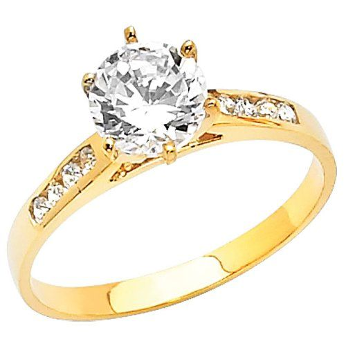 14K Yellow Gold Round cut 1 50 CTW Equivalent CZ Cubic Zirconia