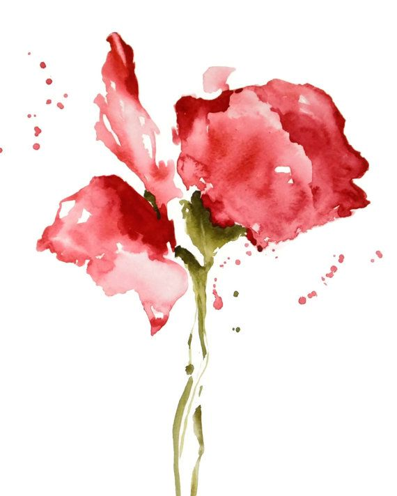 Rose Painting Print Nancyknightart Etsy Com Red Flower Abstract