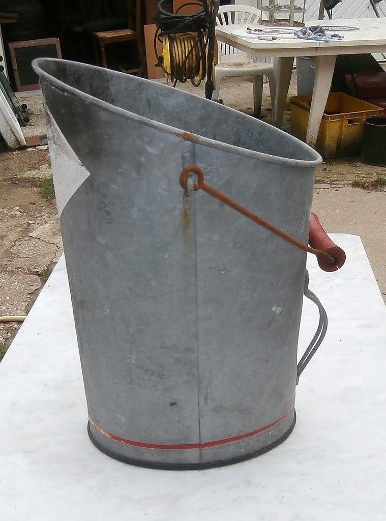 Ancien seau a charbon acier galvanise zinc ebay galvanized decor pinterest seaux acier - Seau a charbon ...