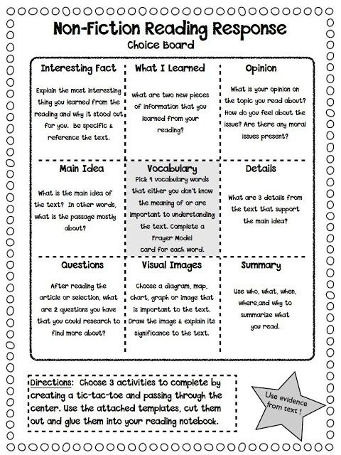 Reading Responses u2013 Non-Fiction Fiction, Texts and Students - sample tic tac toe template