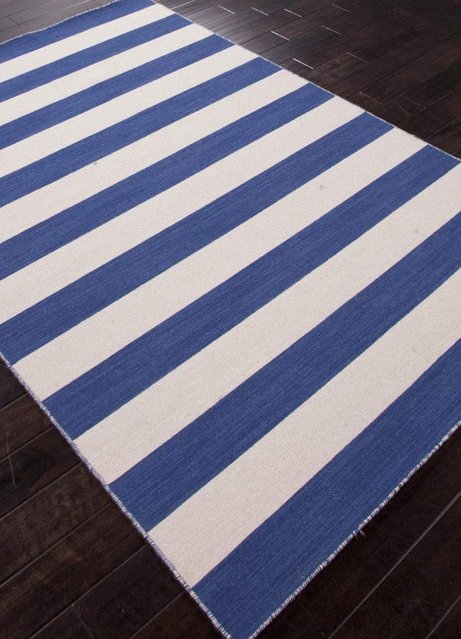 Classic Beach House style! Dark Navy and Off-White Striped Area Rug