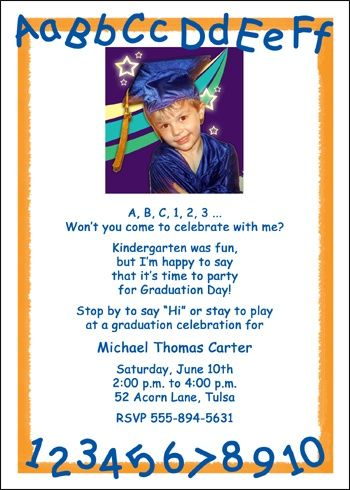 Learning Your Abcs Is Fun And Exciting So Add Them To Preschool Or Kindergarten Graduation Invitations Announcements