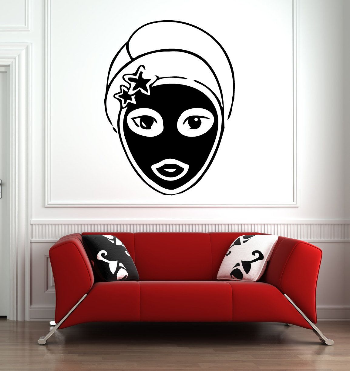 Womans face as wall art decal, woman face wall graphics.