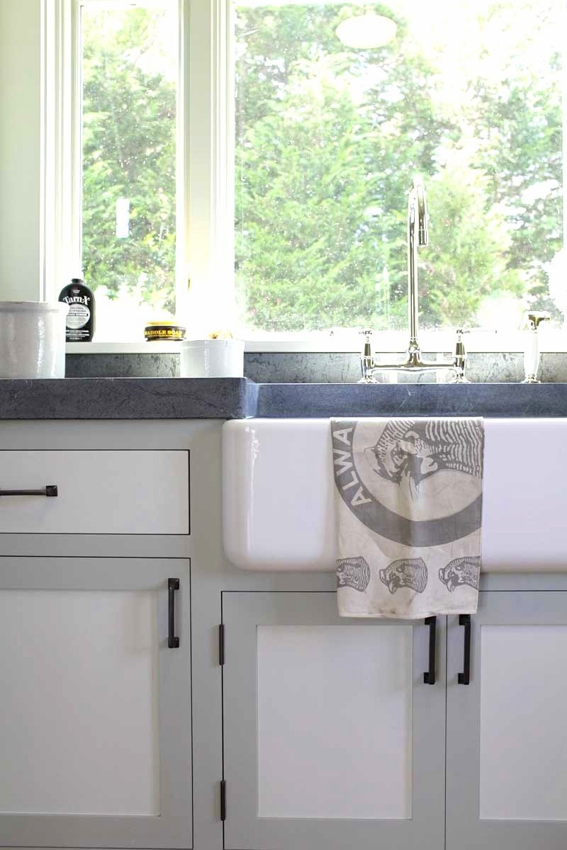Kitchen sink farm house style two toned cabinets gray white cococozy
