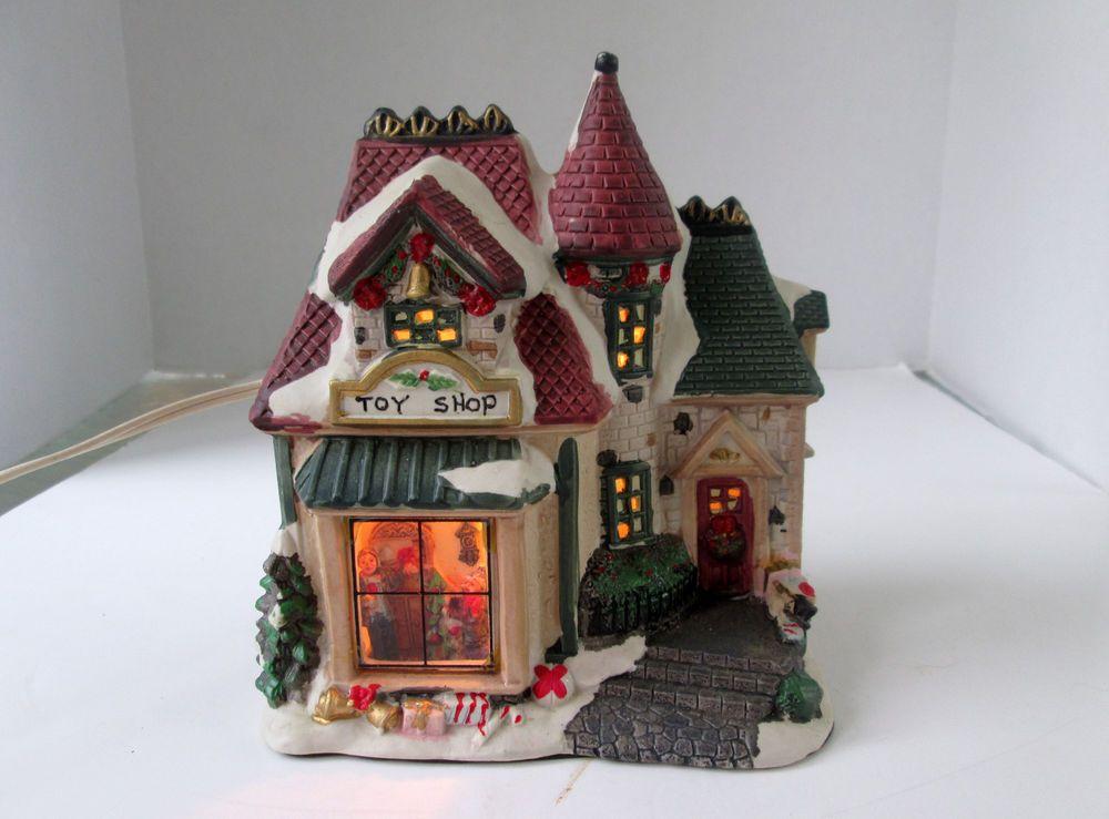 Lighted Porcelain Christmas Village House Toy Shop w Window Scene ...