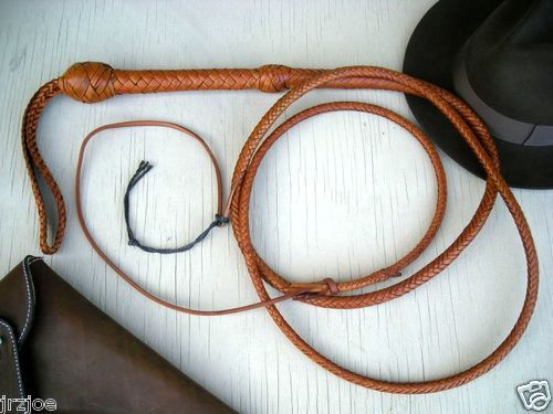 Kangaroo Hide Bull Whip 10 Foot 16 Plait Indiana Jones Style Bullwhip Brown