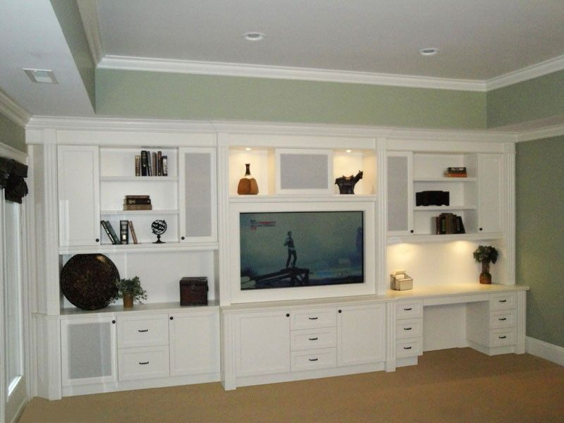 17 Diy Entertainment Center Ideas And Designs For Your New Home Enthusiasthome Built In Entertainment Center Built In Wall Units Built In Desk