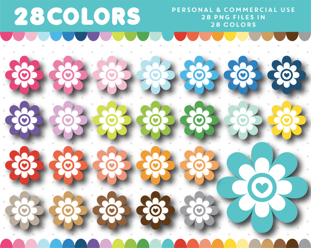 Spring Flower Clipart In 28 Colors Cl 1321 Planner Journal And