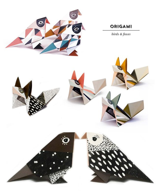 Modern patterned origami birds and foxes by britta manger modern patterned origami birds and foxes by britta manger available premade or as do solutioingenieria Choice Image
