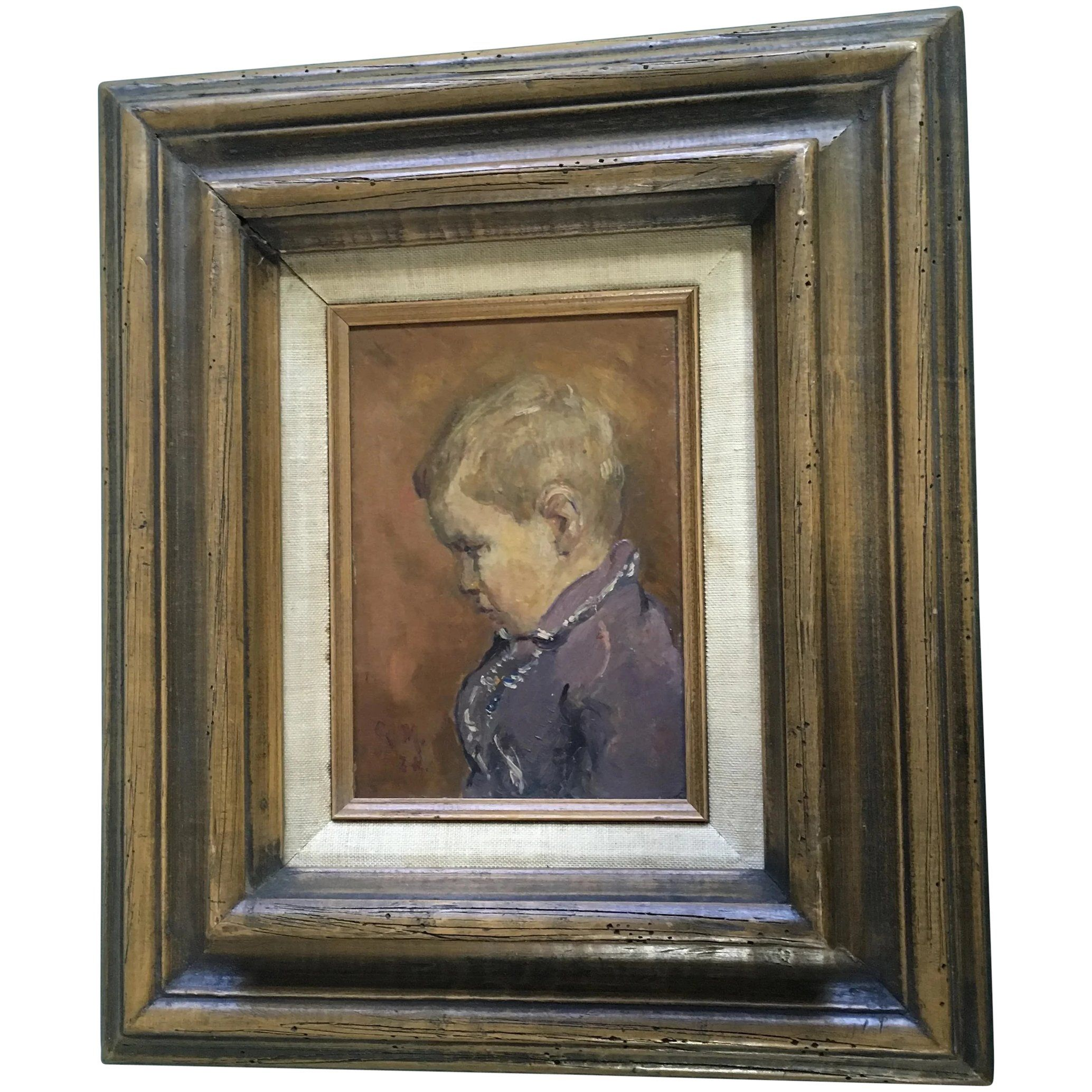 Antique 18thC Folk Art O/C Primitive Portrait Oil Painting