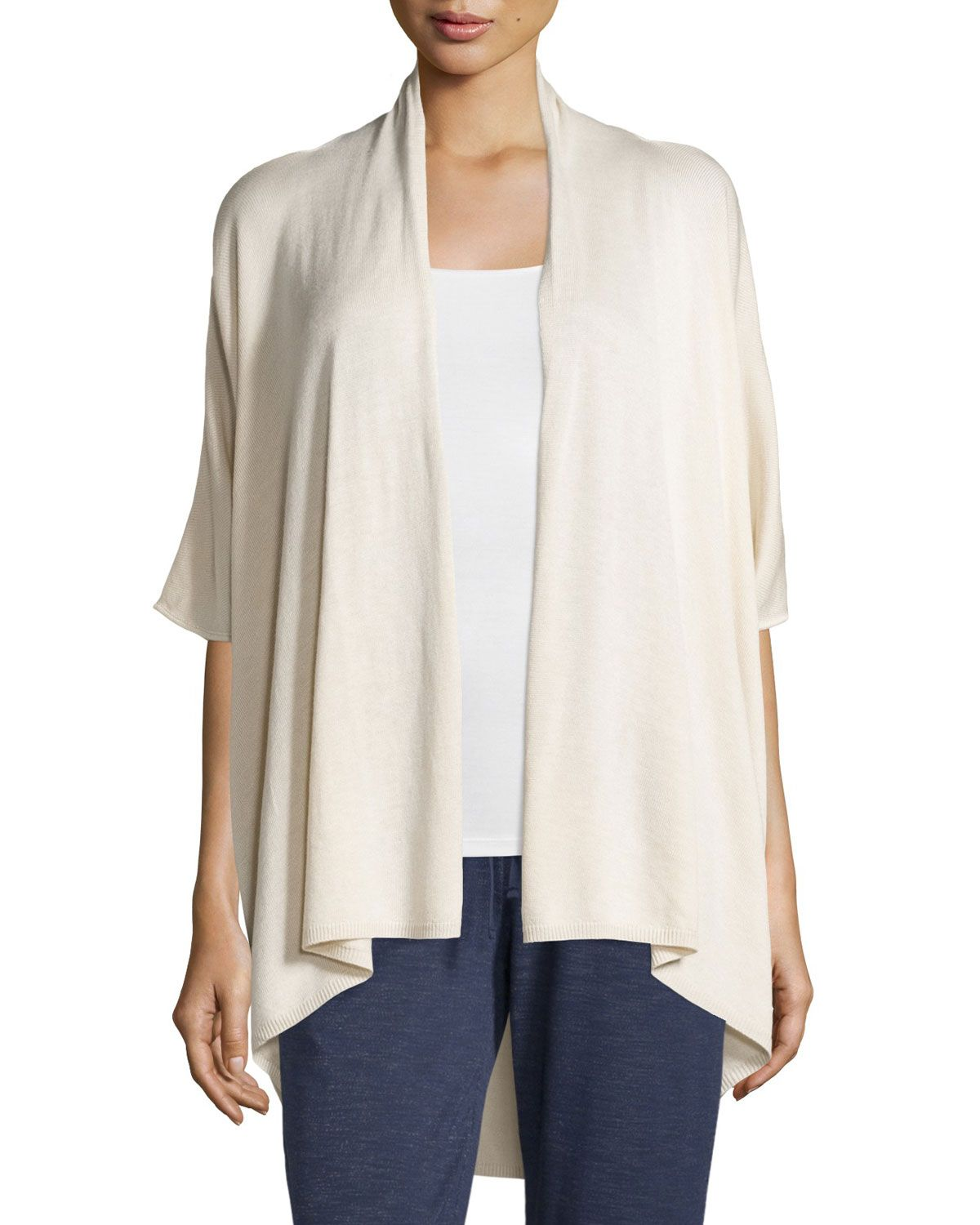 e19a51d978f Joan Vass 3/4-Sleeve Open Topper Cardigan | *Clothing > Shirts ...