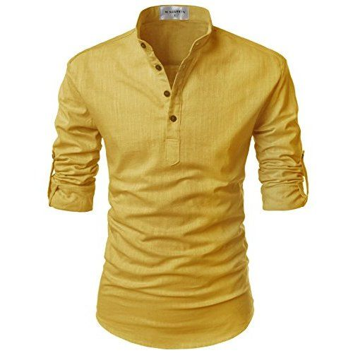 Bylunta slim fit men 39 s linen cotton long sleeve for Collarless white shirt slim fit
