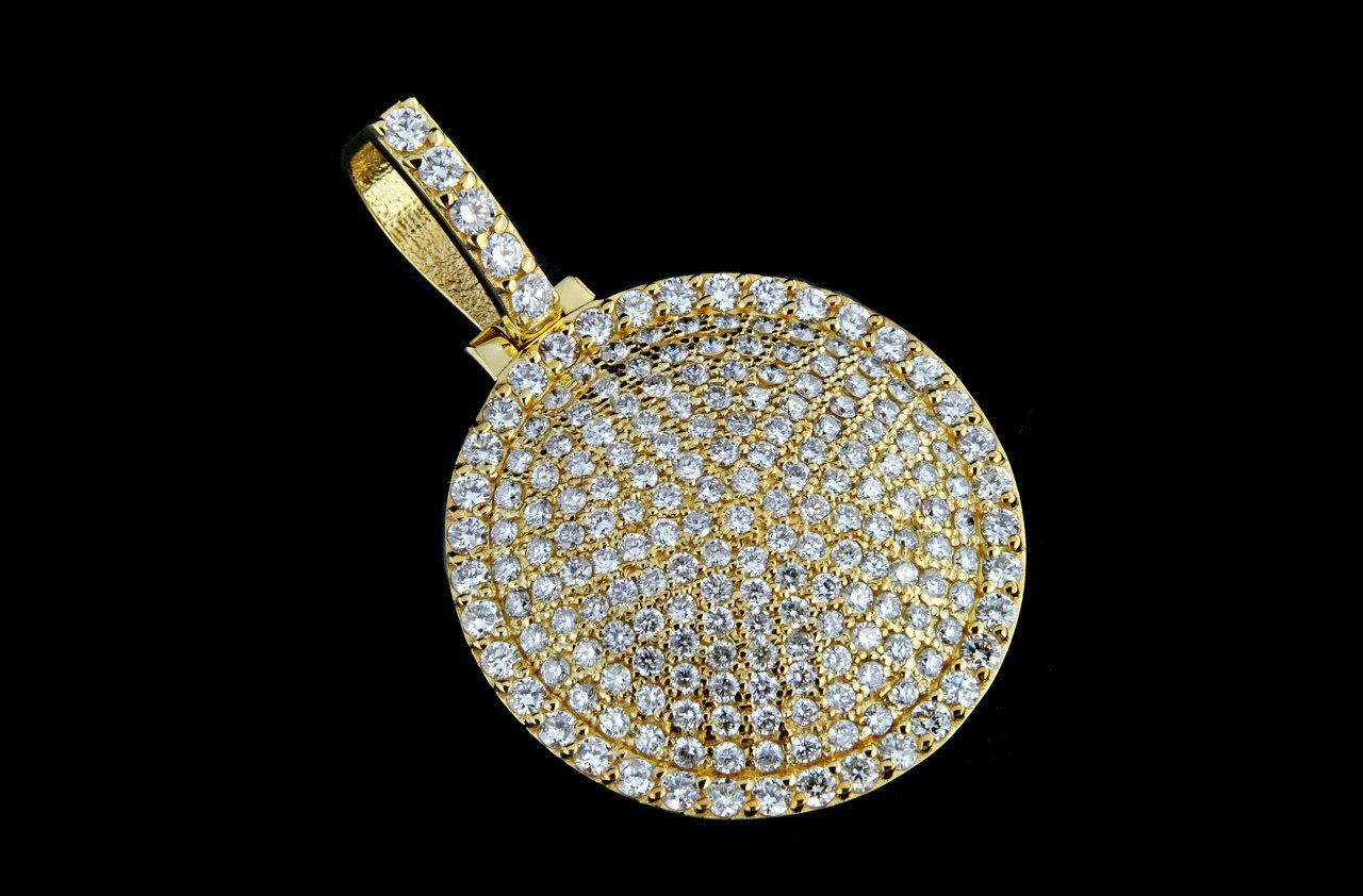 10k Gold 3 60ct Custom Round Iced Out Pendant King Johnny