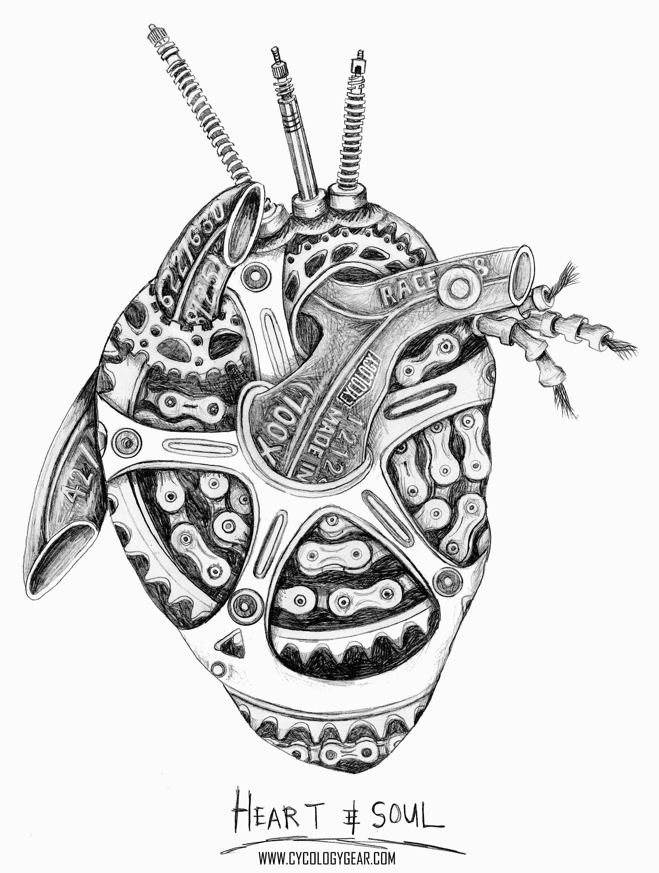 A Lead Pencil On Paper Drawing A Heart Made From Bicycle Parts