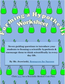 Forming a Hypothesis Worksheet