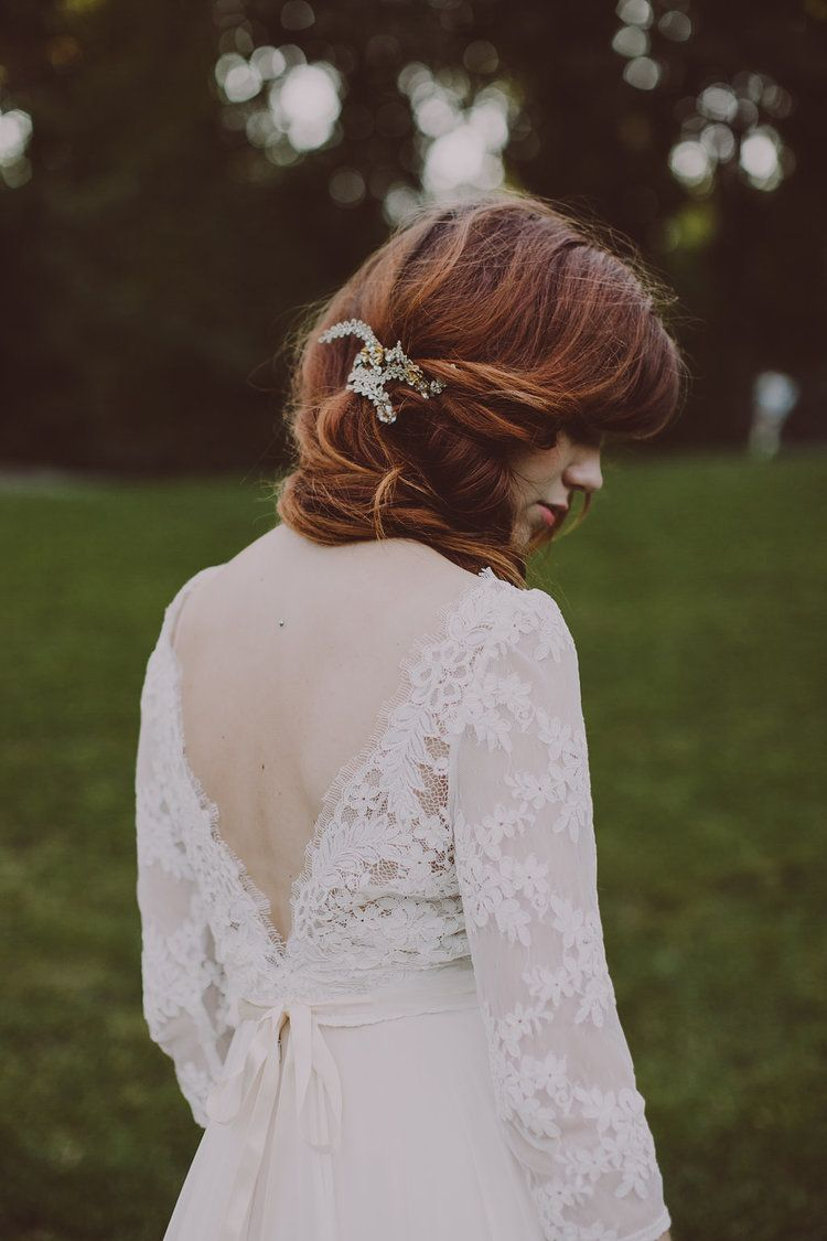 open back lace gown / red hair / hushed commotion / rebecca