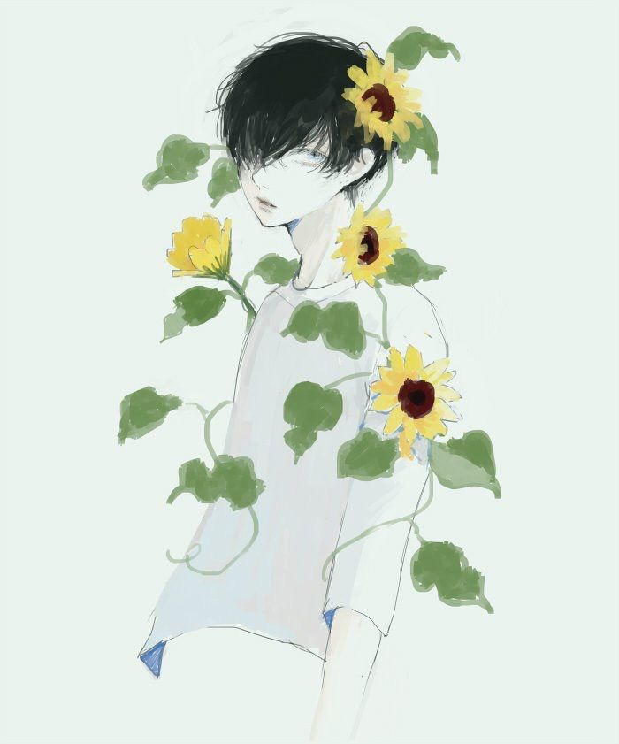 It's just an image of Bright Flower Boy Drawing