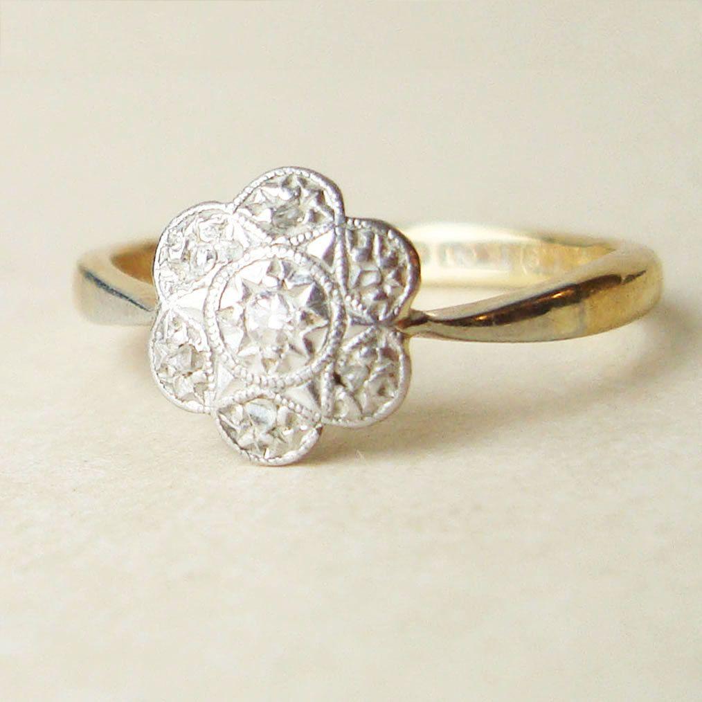 Antique diamond flower ring art deco diamond 18k gold and