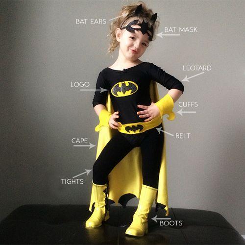 diy batman and batgirl costume halloween pinterest batman para crian as e crian as. Black Bedroom Furniture Sets. Home Design Ideas