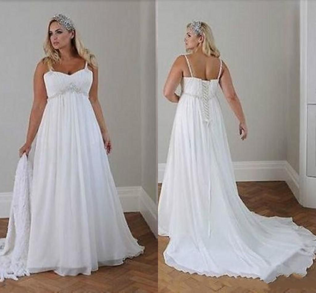 Discount Modest Plus Size Wedding Dresses Beach Wedding Chiffon A Line Floor Length Spaghe Casual Beach Wedding Dress Casual Wedding Dress Beach Bridal Dresses