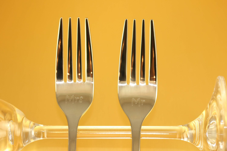 Engraved Wedding Cake, Fork Set, in Stainless Steel - Not Hand ...