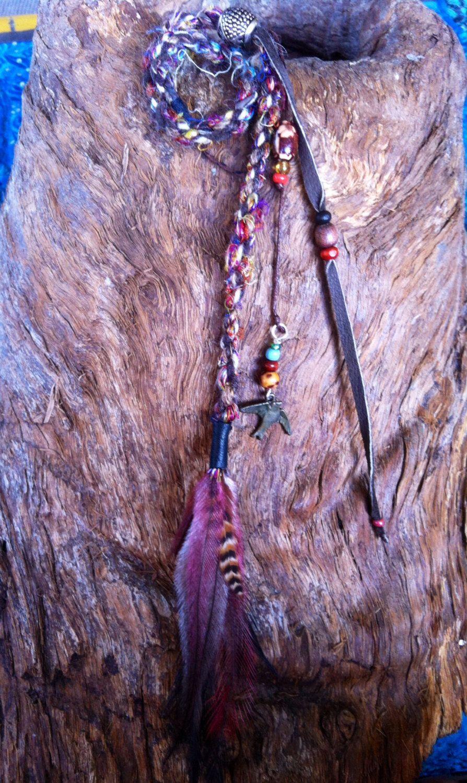 Feather hair clip, Hair Wrap Faux Dreadlock hair extension, Hair ...