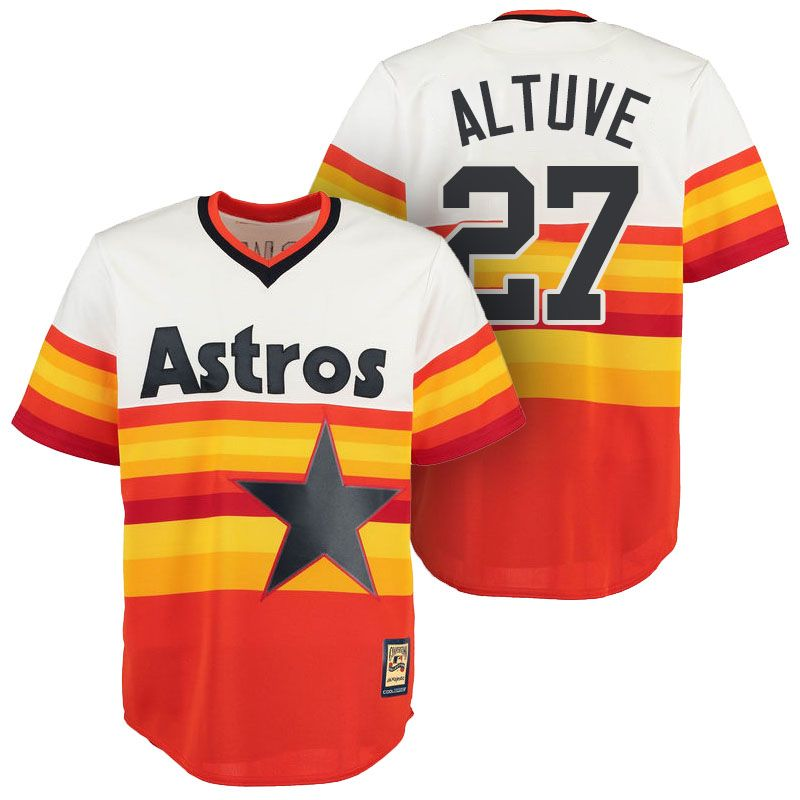755a9e7a Houston Astros Jose Altuve Orange Cooperstown Cool Base Vintage Jersey