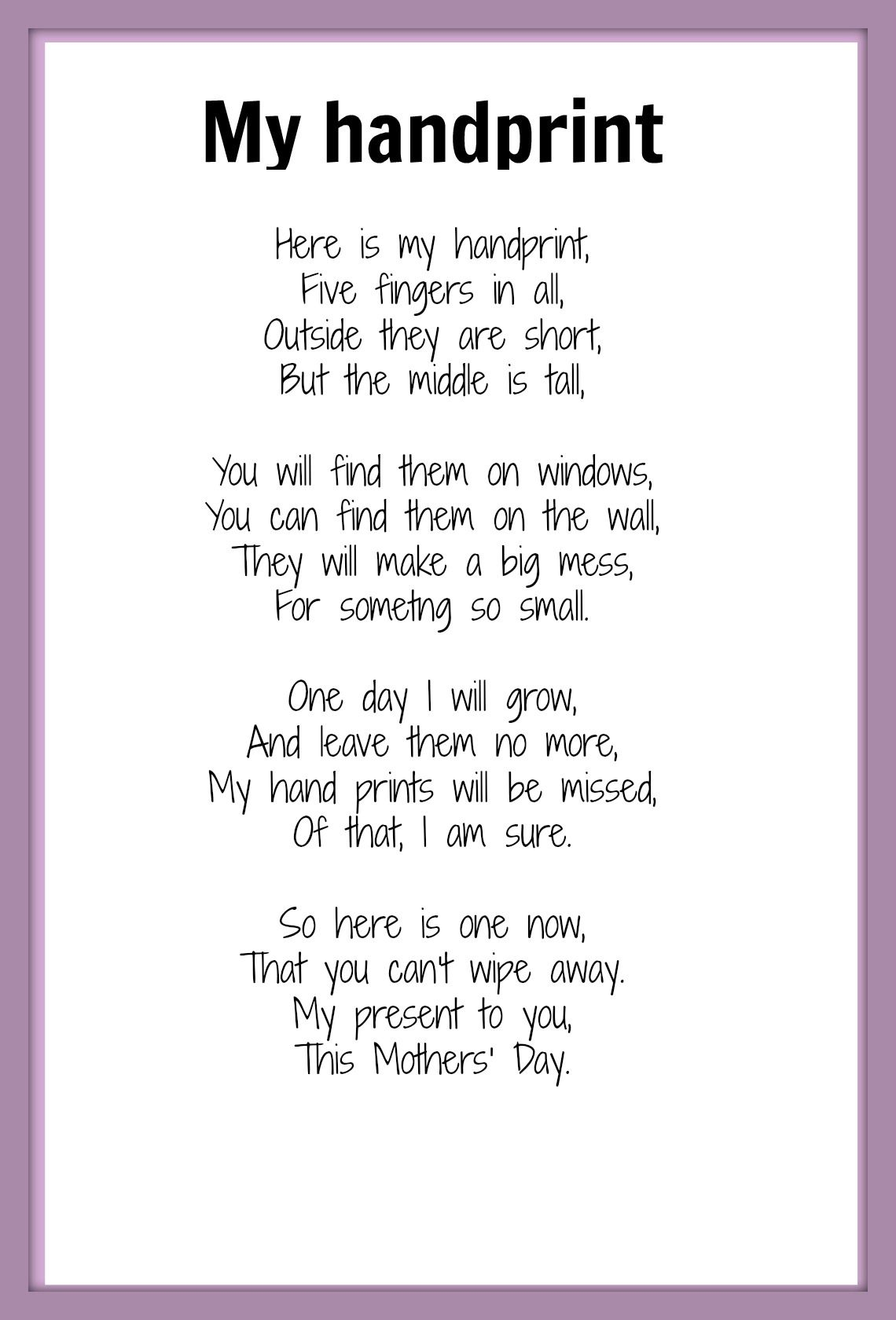 Mothers Day poems  Poem Note and Crafts