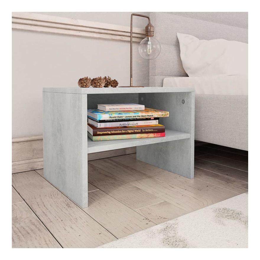 Table De Chevet Gris Cement 40 X 30 X 30 Cm Agglomere 800071