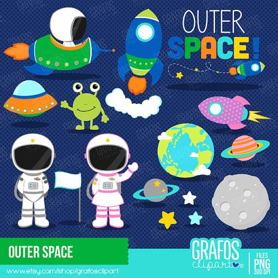 OUTER SPACE - Digital Clipart Set, Space Clipart, Astronauts ...