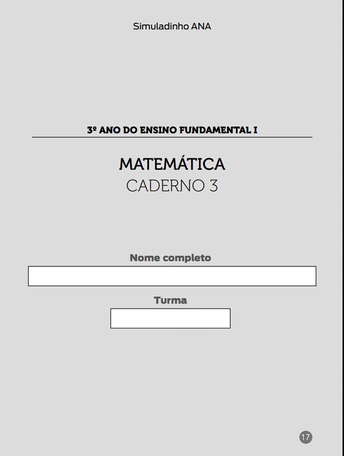 Simulado Matematica Ana Com Imagens Escola Nomes 3 Anos
