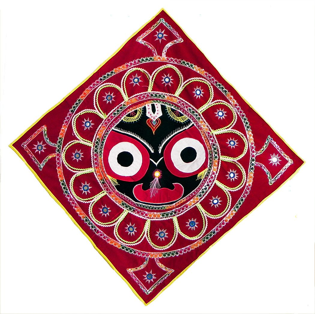 Cloth Wall Hangings appliqued face of jagannath dev decorated with embroidery on red