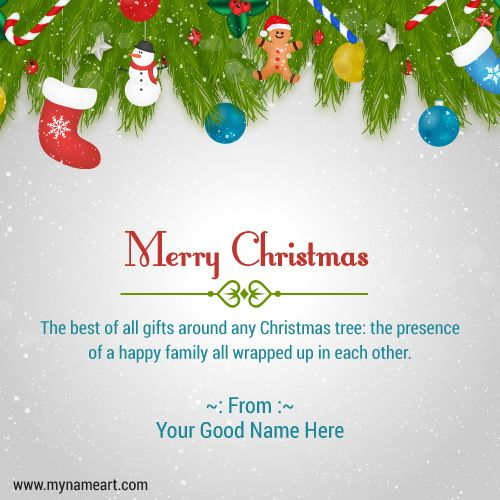 create merry christmas wishes greeting card for family