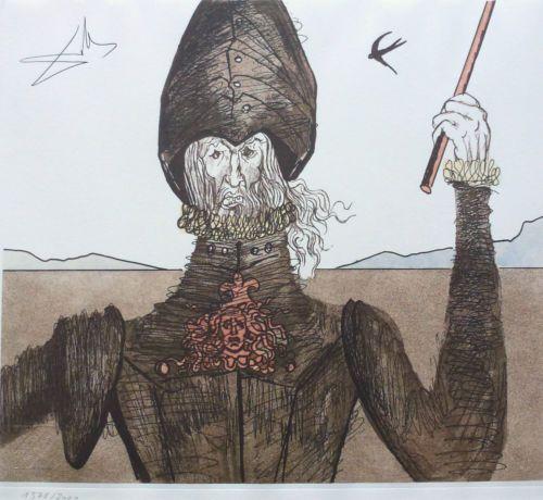 SALVADOR DALI THE DREAMER DON QUIXOTE MAN OF LA MANCHA SIGNED HAND NUMB ETCHING