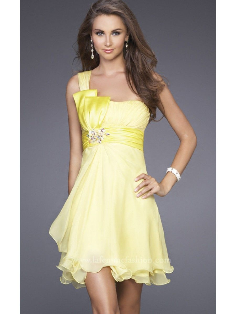 A line one shoulder short yellow chiffon bridesmaid prom a line one shoulder short yellow chiffon bridesmaid prom evening dresses under 100 ombrellifo Gallery