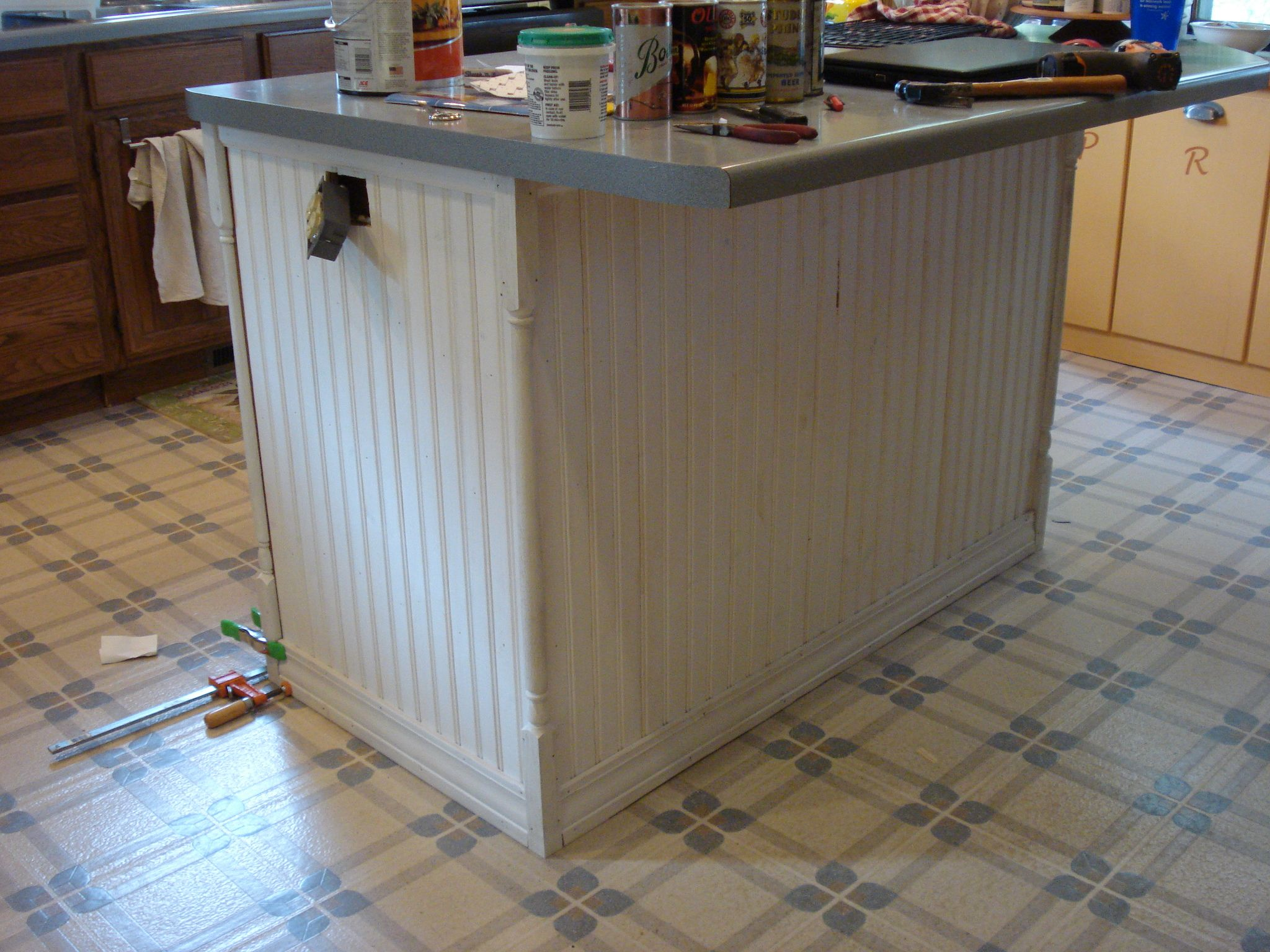 Sanded Beadboard And Corner Pieces Top Bottom Trim Installed Primed Painted Kitchen