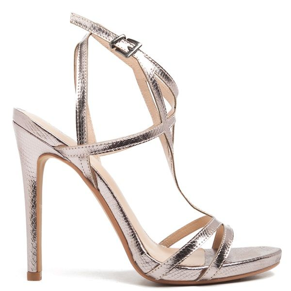 Pewter Heels For Wedding: Pewter Multistrap High-heel Sandal With Thin Heel. Fastens