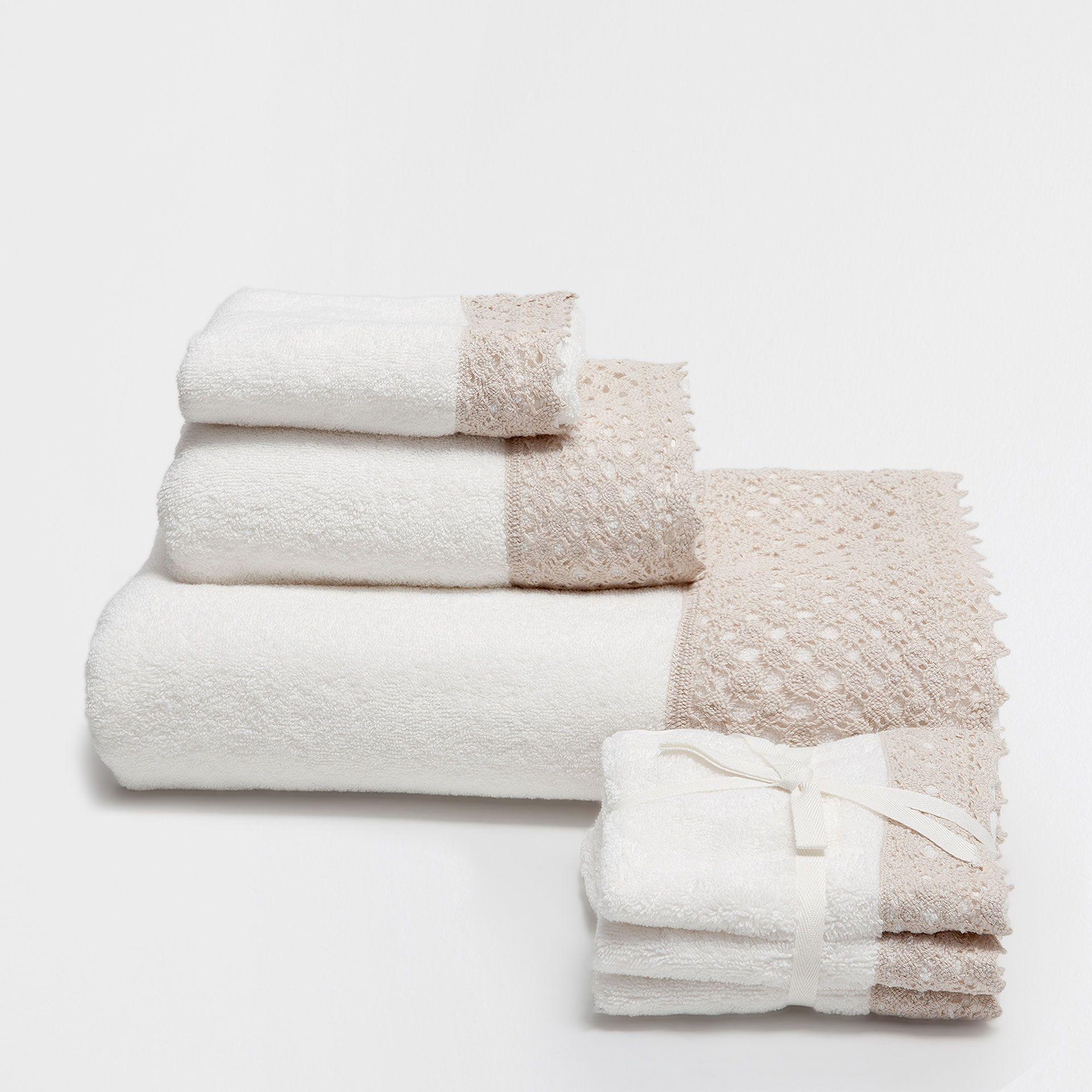 LACE TRIM JACQUARD COTTON TOWELS