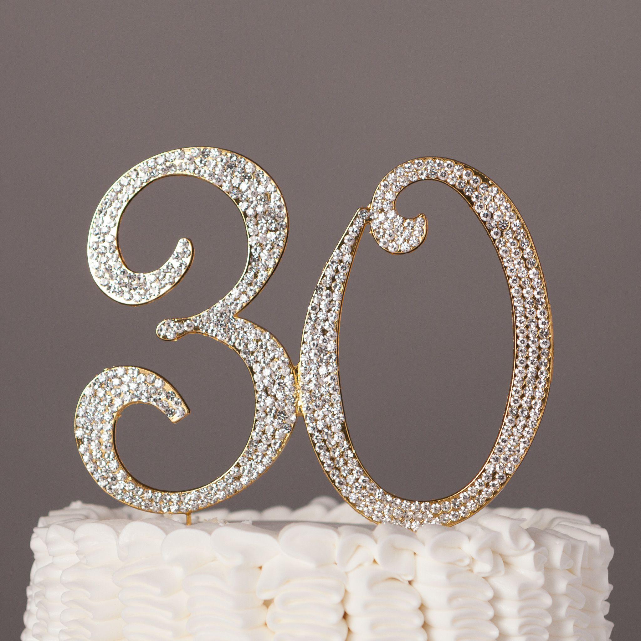 30 Cake Topper Gold