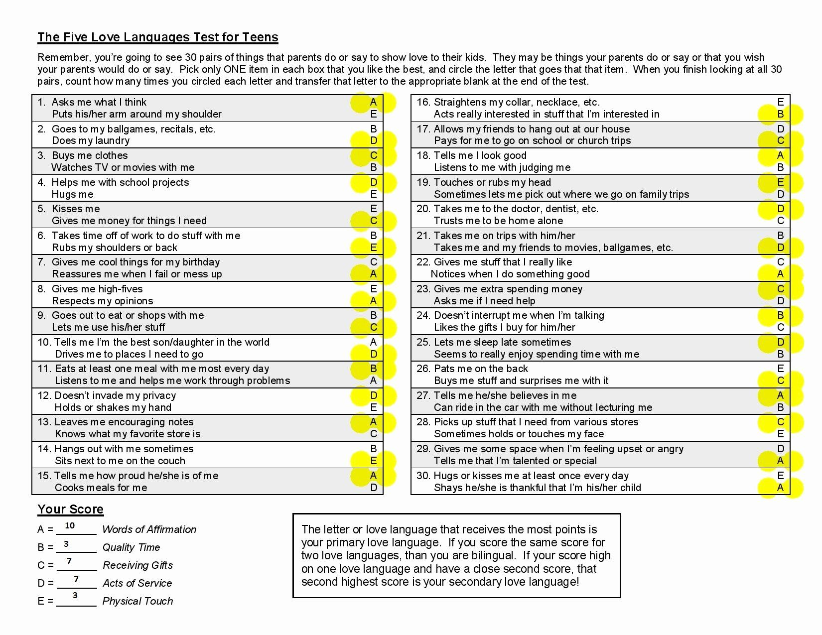 5 Love Languages Worksheet Luxury 5 Love Languages Free Download Chessmuseum Template Library In 2020 Language Worksheets Love Language Test Love Languages