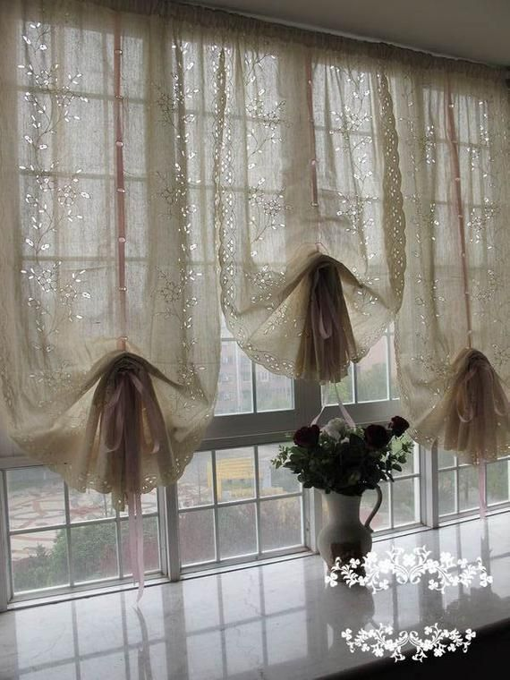 Pair of Shabby Chic Blossom Vine Drawnwork Rod Pocket/Pinch Pleated Creamy Decorative Pull-up Sheer Panels, French Country Style R008-G