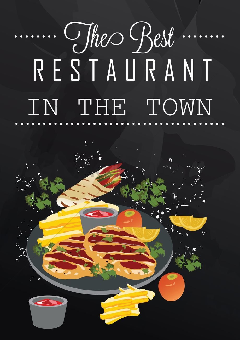 The best restaurant in the town poster vector illustration ,