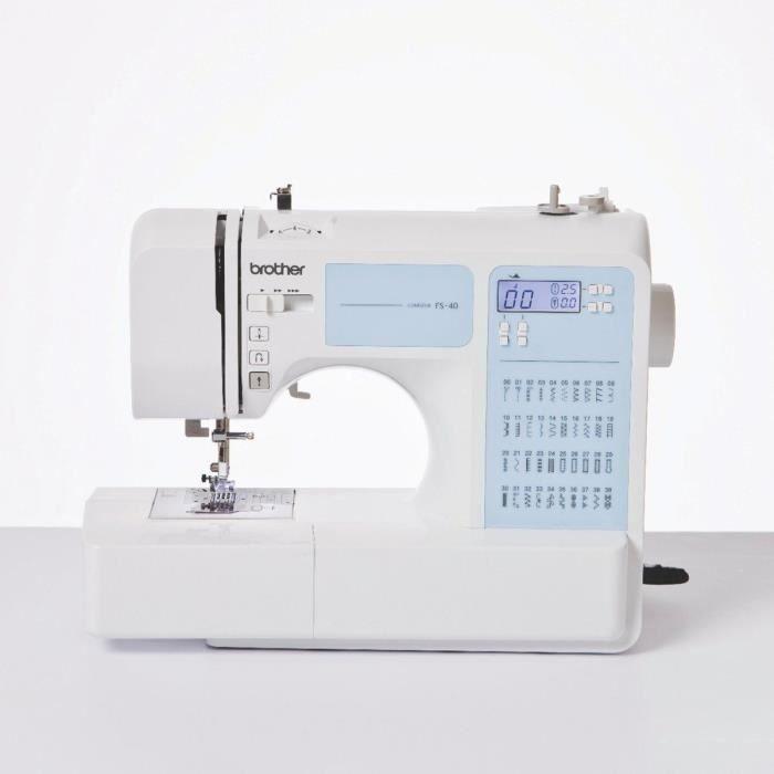 BROTHER Machine à coudre électronique – FS40 – 40 points – 7 griffes – Blanc