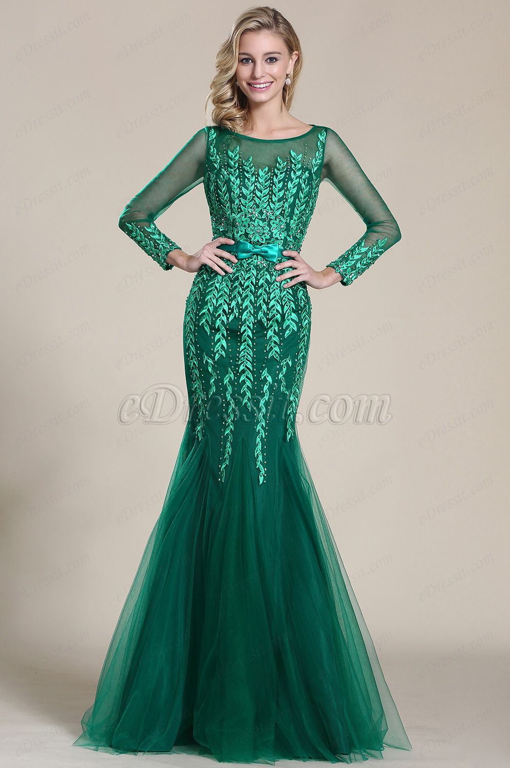 Green dress prom  USD  eDressit Long Sleeves Applique Formal Dress Prom Gown